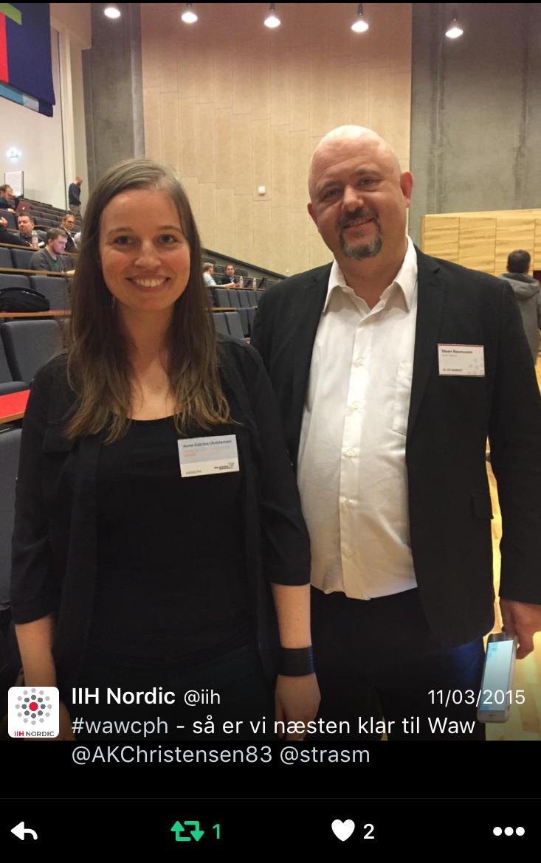 Senior partner i IIH Nordic sammen med Anne-Kathrine Christensen fra Specifii, før hun skal på scenen. IIH Nordic står bag WAW i København.